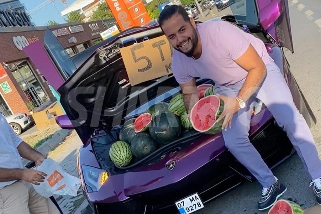 فروش هندوانه توسط میلاد حاتمی با لامبورگینی